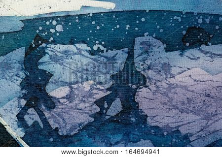 Abstraction turquoise and violet hot batik background texture handmade on silk abstract surrealism art