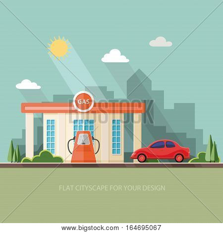 Gas fueling station. Oil industry. Shop near the road. Red car urban landscape. Flat vector illustration