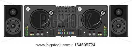 DJ mixer. Two turntables mixer and acoustic system. Vector illustration.