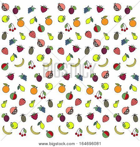 Colorful fruit texture on white, stock vector illustration