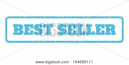 Light Blue rubber seal stamp with Best Seller text. Vector tag inside rounded rectangular banner. Grunge design and scratched texture for watermark labels. Horisontal sign on a white background.