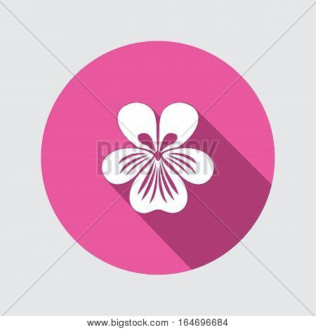 Viola, violet, nasturtium, pansy flower icon. Spring floral symbol. Round circle flat sign with long shadow. Vector