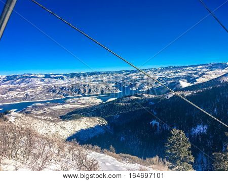 Chair Lift And Deer Creek Reservoire