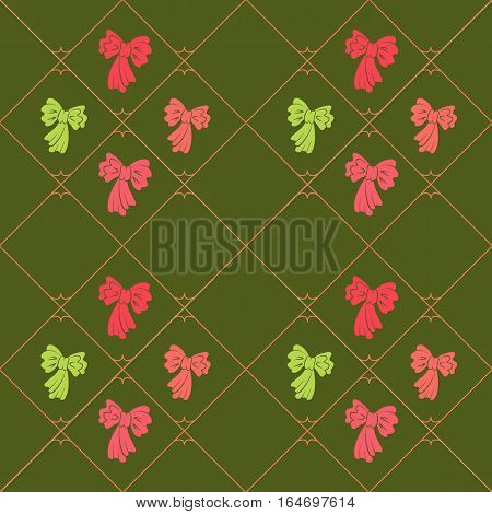 Seamless geometric baby pattern. Texture of diagonal strips, lines, bows. Soft rosy, yellowgreen figures on green background. Children, hipster colored. Vector