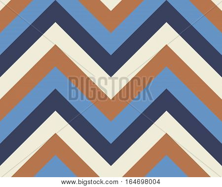 Striped, zigzagging seamless pattern. Zig-zag line texture. Stripy geometric background. Brown, blue, white contrast colored. Vector
