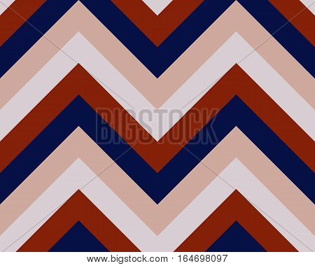 Striped, zigzagging seamless pattern. Zig-zag line texture. Stripy geometric background. Dark red, rosy, blue contrast colored. Vector