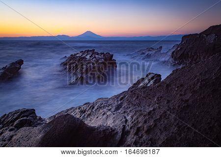 Mt.Fuji and sea in winter season seen from Jogashima Island Kanagawa prefecture