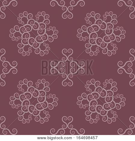 Spiral seamless lace pattern. Vintage abstract texture. Volute, twirl figures of laurel leaves. Vinous, rosy contrast colored background. Vector poster