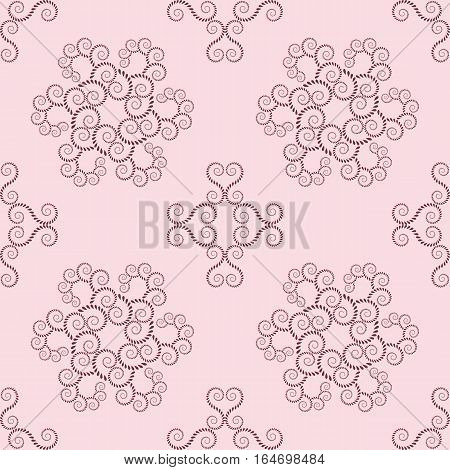 Spiral seamless lace pattern. Vintage abstract texture. Volute, twirl figures of laurel leaves. Vinous, rosy contrast colored background. Vector