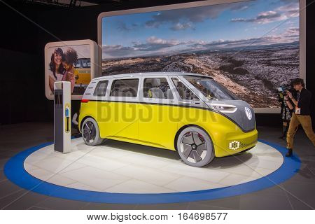 DETROIT MI/USA - JANUARY 10 2017: A Volkswagen I.D. BUZZ Concept van at the North American International Auto Show (NAIAS).