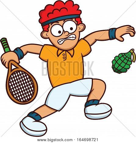 Cartoon illustration of a funny man playing tennis with grenade