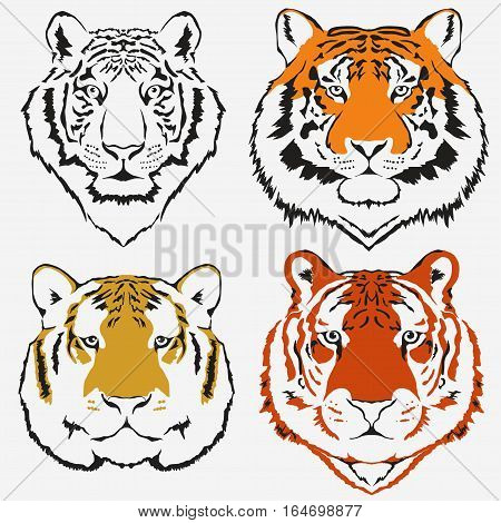 Tiger logo set vector. Mascot head, wild animal portrait emblem, predator face silhouette, Hand drawn Emblem t-shirt design. Vector