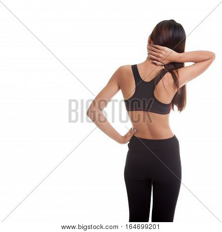 Asian Healthy Girl Got Neck Pain And Back Pain.