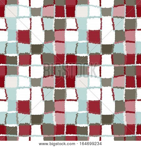Seamless geometric mosaic checked pattern. Background of woven rectangles and squares. Patchwork, ceramic, tile texture. Vinous, gray, agua, white colors. Vector