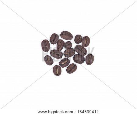 Organic medium dark roasted coffee beans isolated on white background