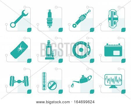 Stylized Car Parts and Services icons - Vector Icon Set 1