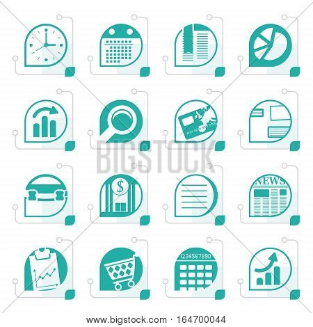 Stylized Business and Office  Internet Icons - Vector Icon Set