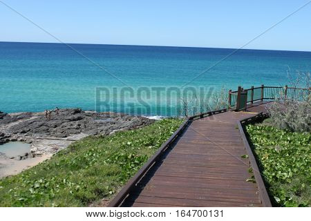 Walkway overlooking ocean views at Fraser Island