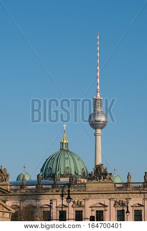 The Dome Of The Berlin Cathedral And The Tv Tower