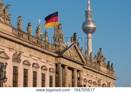 Berlin, Tv Tower, Historic Building (zeughaus) And German Flag