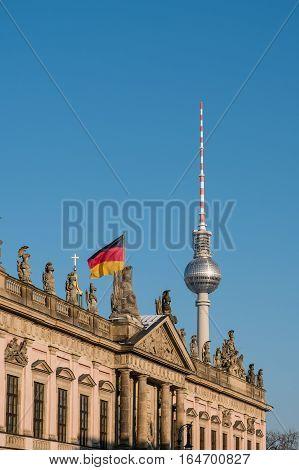 Berlin, Tv Tower ,historic Building (zeughaus) And German Flag