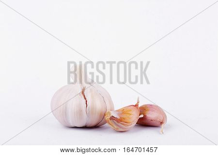 Garlic is cooking ingredient on white background isolated.