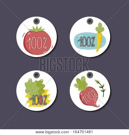 Eco and bio food labels set isolated on perpl background. Natural farm products round price tags for organic foods shop, vegan cafe, restaurant, eco bar. Healthy eating concept. Eco friendly products