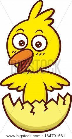 Chick Hatching Cartoon Illustration Isolated on White