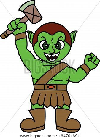 Evil Orc Raising Ax Weapon with His Hand Cartoon Illustration Isolated on White