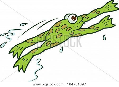 Frog Jumping Cartoon Animal Character. Vecor Illustration.