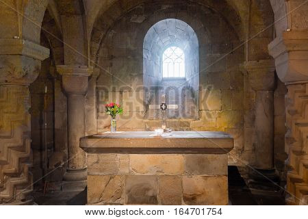 Lund, Sweden, Aug 29, 2016 - Sandstone altar in the crypt of Lund cathedral, consecrated 1123.