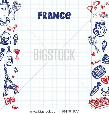 France national symbols. French cultural, culinary, historical, architectural, fashion related doodles drawn on sides of squared paper sheet with copy space vector illustration. Sketched with pen icon