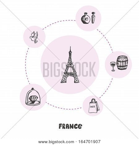 Attractive France. Eiffel tower doodle surrounded perfumes, wine barrel, flying dove, shopping bag, diamond hand drawn pink vector icons. French cultural, culinary, fashion symbols. Travel in Europe