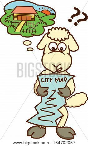 Lost Sheep Looking at City Map Cartoon Illustration