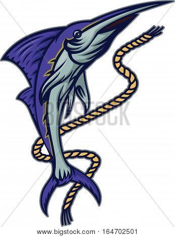 Marlin Fish with Rope Cartoon Illustration Isolated on White