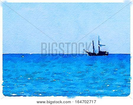 Digital watercolor painting of a ketch sailing boat at sea with space for text.
