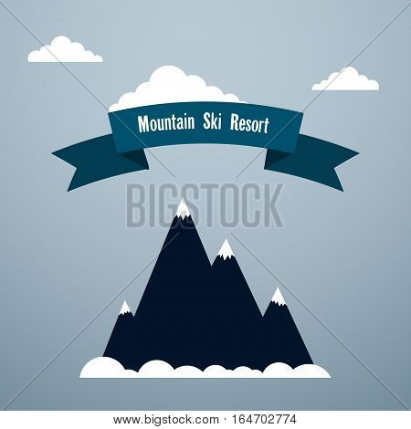 Mountain ski resort Poster template Snow-covered mountain clouds and banner with inscription Mountain ski resort Flat design