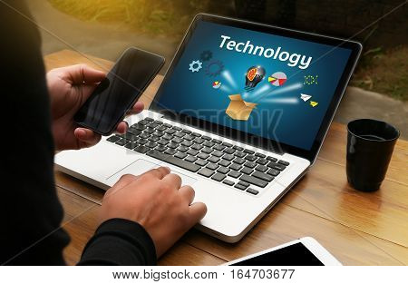 Internet Technology Ideas Think Outside Box , Businessman Hand Working On Laptop Computer Technology
