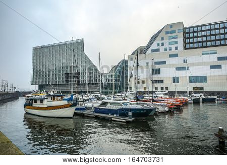 AMSTERDAM NETHERLANDS - JANUARY 03 2017: Palace Of Justice In Amsterdam Is A New Landmark Of Western IJ Docks. Amsterdam - Netherlands.