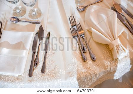 Cutlery on the table at events in natural light
