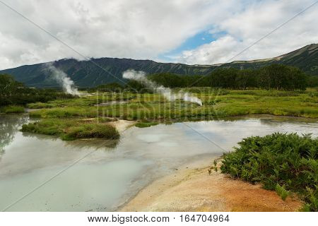 Hydrothermal field in the Uzon Caldera. Kronotsky Nature Reserve on Kamchatka Peninsula.