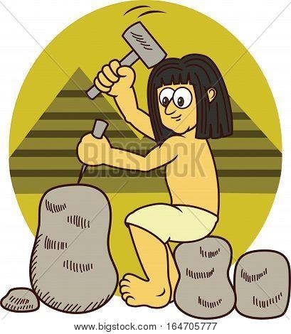 Ancient Egyptian Sculpting Rock Cartoon Illustration. Vector Character.