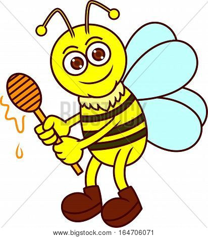 Funny Bee with Honey Dipper Cartoon Animal Character