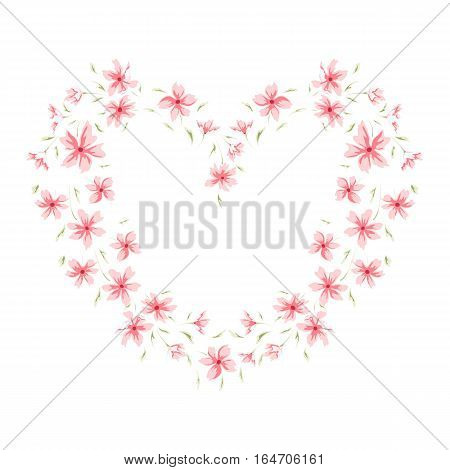 Floral heart frame. Sweet border. Cute retro flowers perfect for wedding invitations, birthday and valentine's day cards and your photo album. Scrapbooking elements