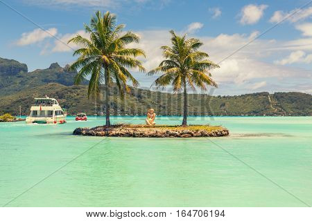 Boat shuttle station on Bora Bora Tahiti French Polynesia