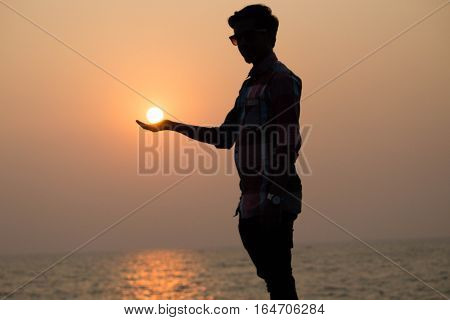 The Sun on my hand.THe model is myself