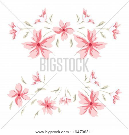 Floral frame. Cute retro flowers perfect for wedding invitations, birthday cards and your photo album. Sweet border. Scrapbooking element