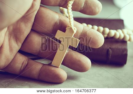 Praying Hands Of Poor Man With A Rosary On On Cement Table Prayer, Rosary Background Concept In Vint
