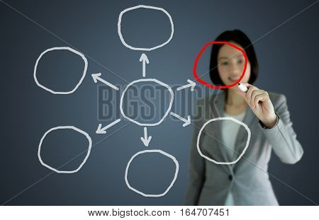 business woman writing diagram of distribution, management