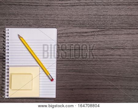 Desk Top Spiral Notebook Sticky Notes Pencil